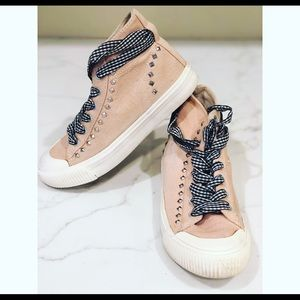 Zara Girls Pink Hi Tops Rhinestone Sneakers 34 3